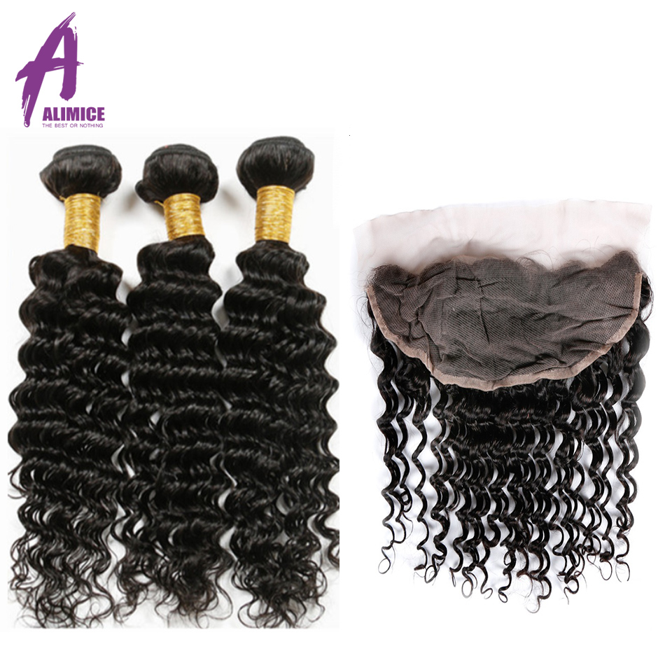 ALIMICE Hair Brazilian Deep Wave Human Hair 3 Bundles With Ear to Ear Frontal Closure 13x4 Lace Frontal Closure With Bundles