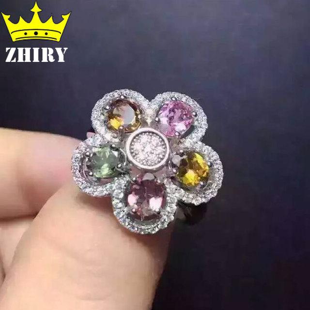 Anillo Natural Turmalina Multicolor joyas joyería Fina Genuino esterlina del sólido 925 de plata anillos de piedra de Nacimiento