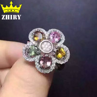 100 Natural Tourmaline Ring Multicolored Genuine Solid 925 Sterling Silver Gems Fine Jewelry Birthstone Rings Gold