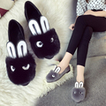 2016 fall ladies fashion rabbit head cashmere rabbit ear shoes