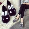 2016 otoño damas de la moda cabeza de conejo oreja de conejo cachemira zapatos