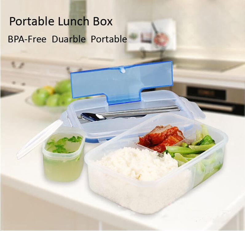 Modern Solid Ecofriendly Portable Outdoor Microwave Lunch Boxs <font><b>Set</b></font> Bento box Food Containers 1000mL