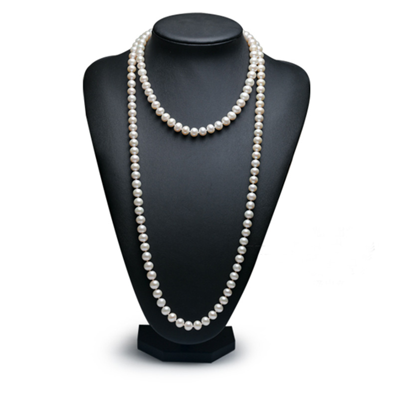 Sinya Classical pearls strands long necklace 7-8mm round pearls beads sweater chain for women Mom girls suit four seasons wear faux pearls long chain earrings