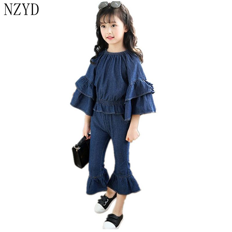 New Fashion Spring Girl Two Pieces Suit Children Cowboy Tops+Bell-Bottomed Pants Suits Han edition Leisure Kids Clothes DC255 2016 autumn and spring new girl fashion cowboy short jacket bust skirt two suits for2 7 years old children clothes set