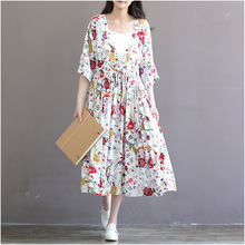 Women Dress Half Sleeve V-Neck Cotton Linen Summer Dress Casual Loose Fax Two Pieces Vintage Dress Floral Print Long Dresses