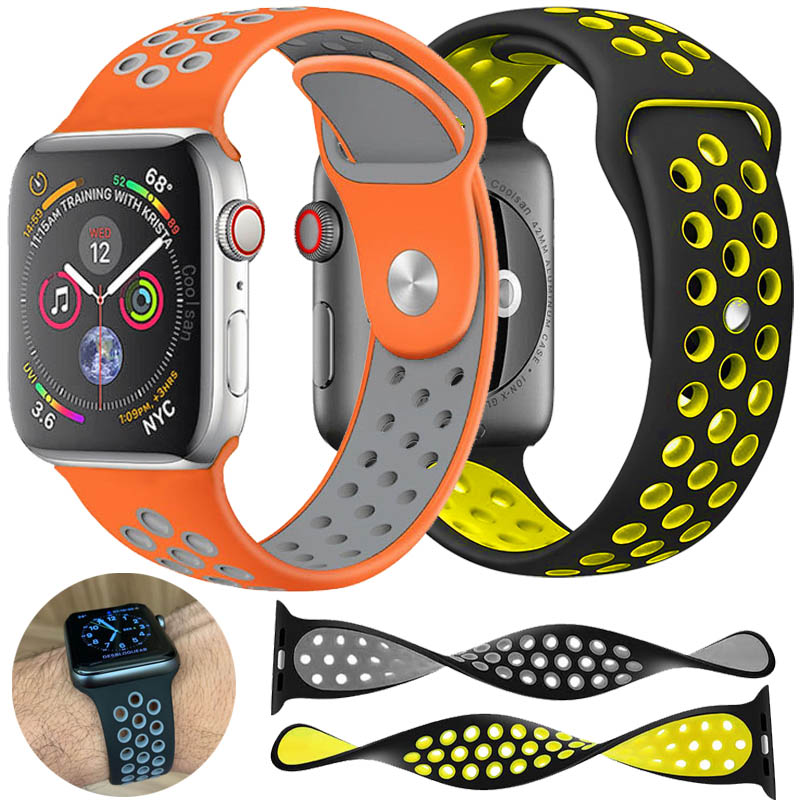 Sports Soft Watch Band For Apple Watch 4 3 2 42mm 44mm Nike Silicone Watchband Apple Watch Strap For Iwatch Breathable 38mm 40mm