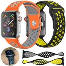 Спортивный ремешок для наручных часов для Apple Watch Nike + series 4 3 2 Силиконовый ремешок для часов аpple для iwatch дышащий 38/40 мм 42/44 мм