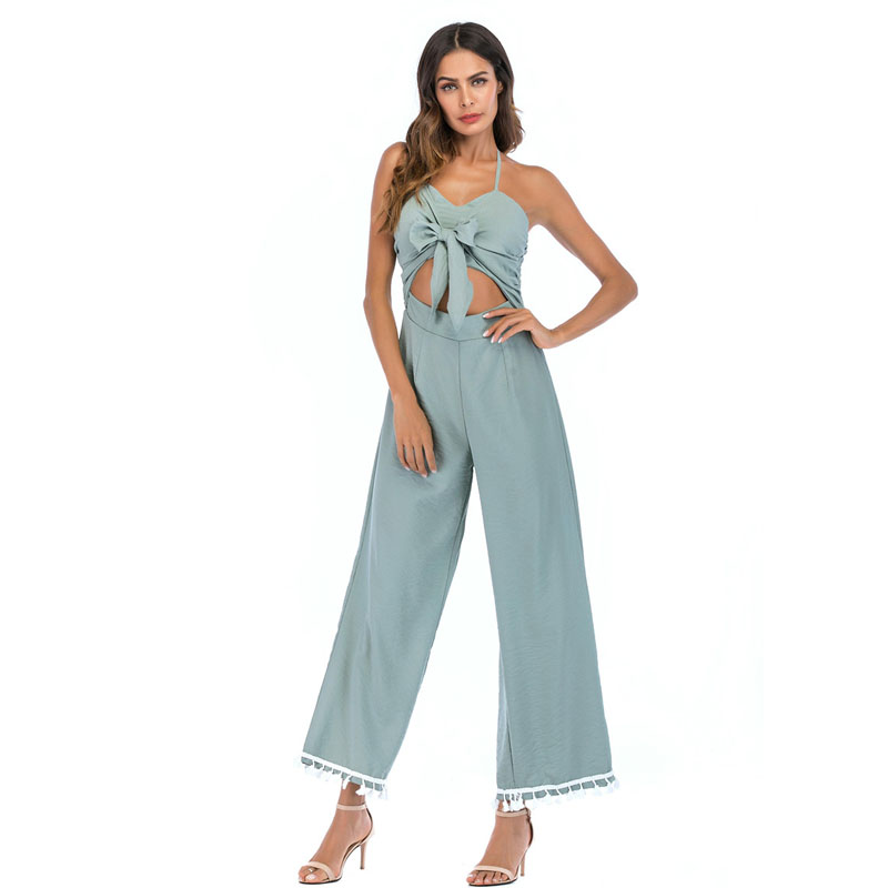 Women Summer Bow Tie Sling Jumpsuits 2018 New Fashion Hollow Out Tassel Wide Leg Palazzo Trouser Ladies Overalls