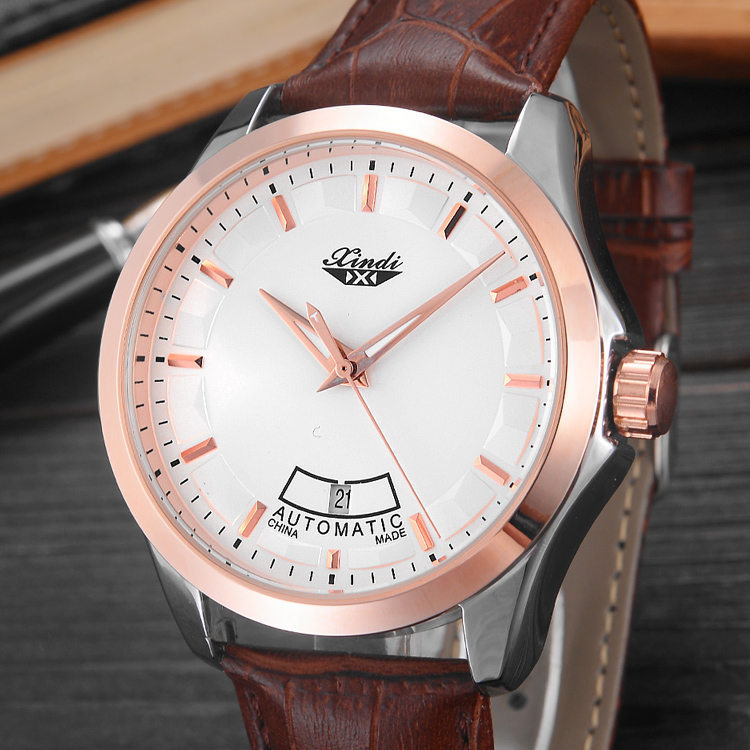 Brand  Leather  S watch Rlo  dz Auto Date Week Display  Luminous Diver Watches  Stainless Steel Wrist gift Male Clock