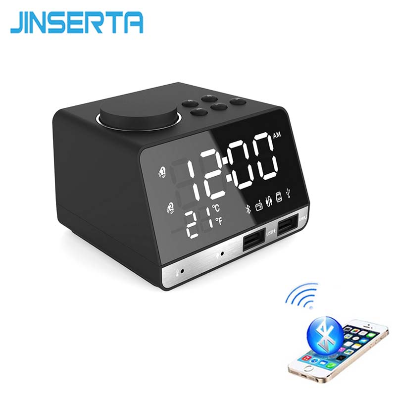 JINSERTA Bluetooth FM Radio Speaker with Music Alarm Clock MP3 Player Support Handsfree TF Card Play Aux Input