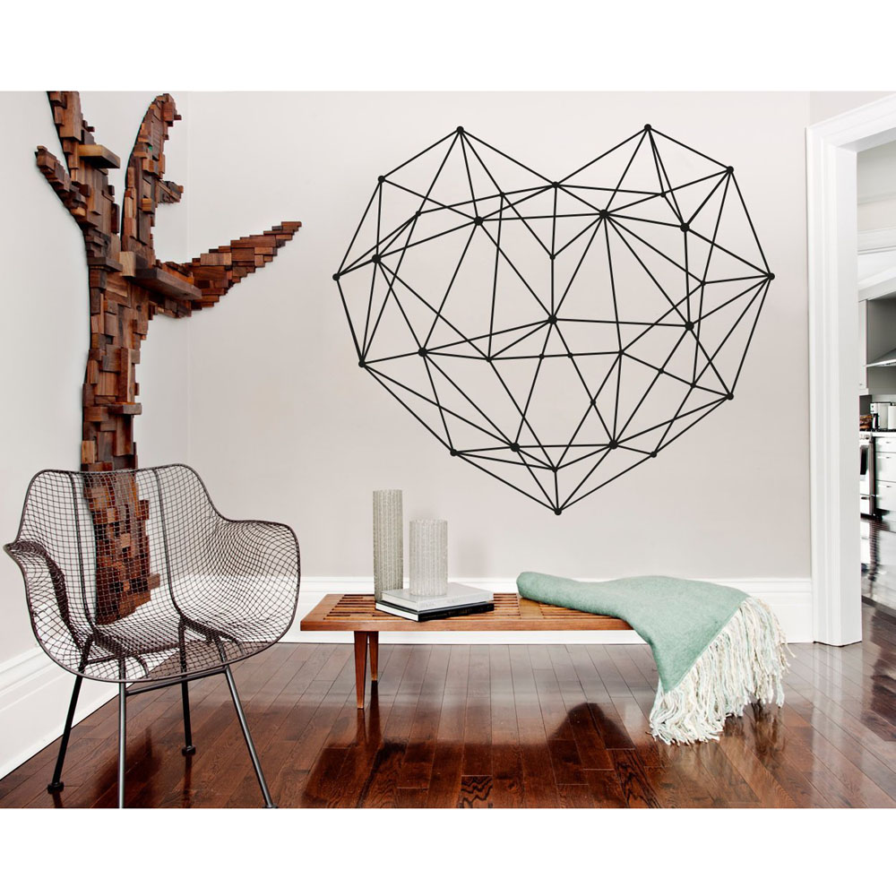 US $5.28 30% OFF|Geometric Decal Heart Vinyl Wall Sticker Home Decor Living  Room Abstract Wall Decals Master Bedroom Headboard Decoration G231-in Wall  ...