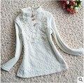 2014 Autumn New Children Girl T shirt 100% Cotton Thicken Warm Long Sleeve Basic Sweater Flower Lace Girls Bottoming Shirts