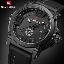 NAVIFORCE для мужчин s часы лучший бренд класса люкс Спорт Кварцевые часы кожаный ремешок часы для мужчин непромокаемые наручные часы relogio masculino 9099