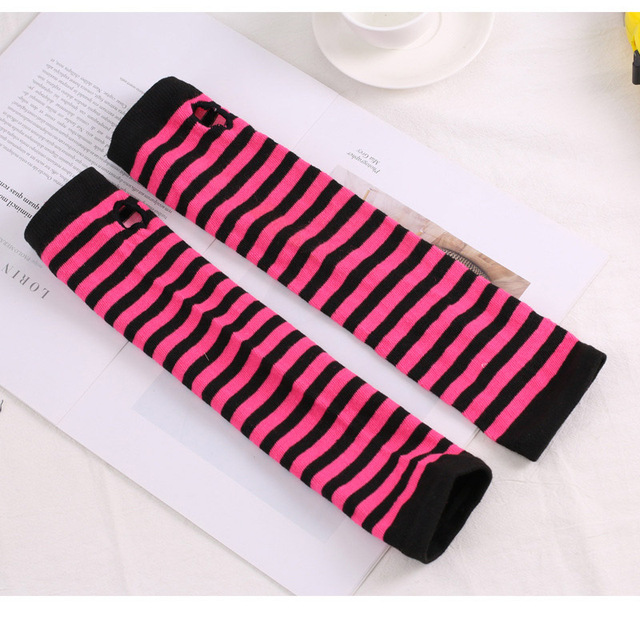 Fashion Women Lady Striped Elbow Gloves Warmer Knitted Long Fingerless Gloves Elbow Mittens Christmas Accessories Gift 16
