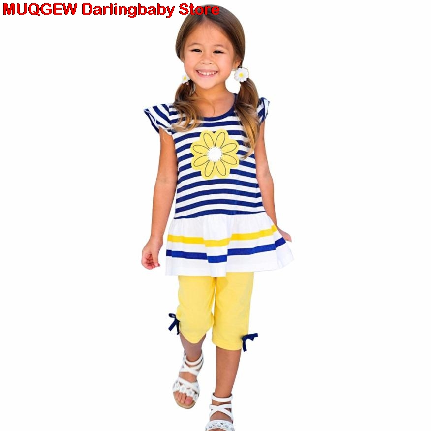 New Kids Clothes Daisy Flower Print Striped Shirt Top Bow Pant Girls Clothes Children Clothing Fashion Baby Girl Summer Clothes