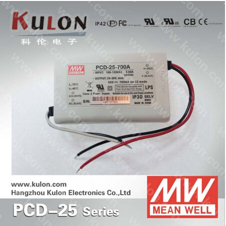 25W 1050mA Meanwell PCD-25-1050 constant current LED power supply AC dimmable 3 years warranty