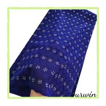 Royal Blue Swiss Cotton Lace Fabric with Stones For Men Soft Voile In Switzerland Nigerian Dry Material