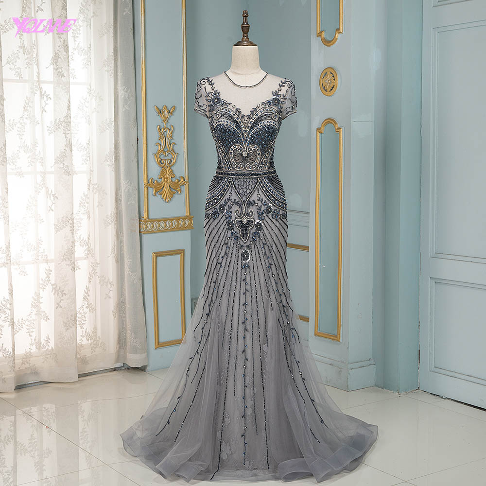 YQLNNE Luxury Navy Crystals Evening Dress Long Mermaid Beaded Cap Sleeve Evening Gown