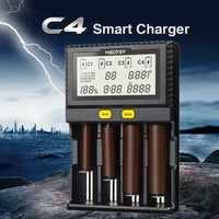 Ban Đầu Miboxer C4 LCD Pin Sạc Dành Cho Li-Ion/IMR/Inr/ICR/LiFePO4 18650 14500 26650 AAA 3.7 1.2V 1.5V PK VC4