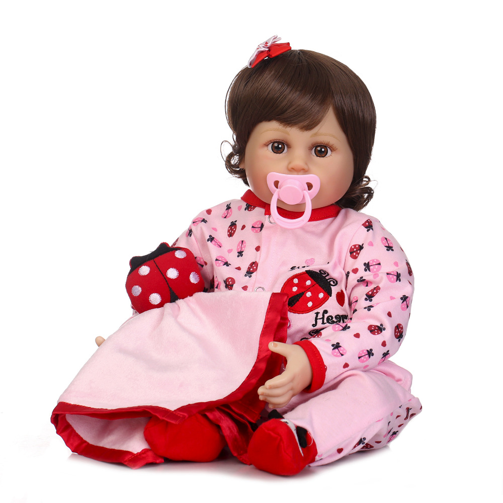 Nicery 20-22inch 50-55cm Bebe Reborn Doll Soft Silicone Girl Toy Reborn Baby Doll Gift for Child Pink Clothes Red Ladybird NPKNicery 20-22inch 50-55cm Bebe Reborn Doll Soft Silicone Girl Toy Reborn Baby Doll Gift for Child Pink Clothes Red Ladybird NPK