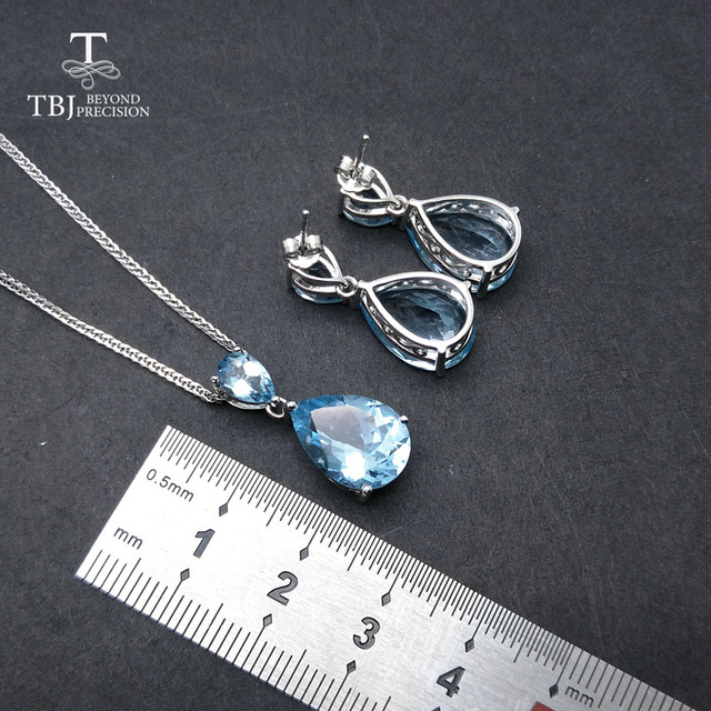 TBJ, natürliche himmel blau topas edelstein ohrring und anhänger S925 silber big shiny schmuck für frauen täglichen party tragen geschenk für frau