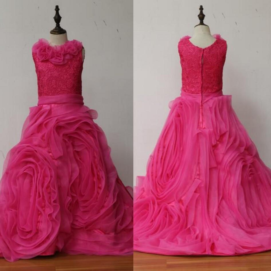 Flower     Girls     Dresses   Fuchsia vestido longo Pleated First Communion   Dresses   For   Girls   A Line vestido daminha