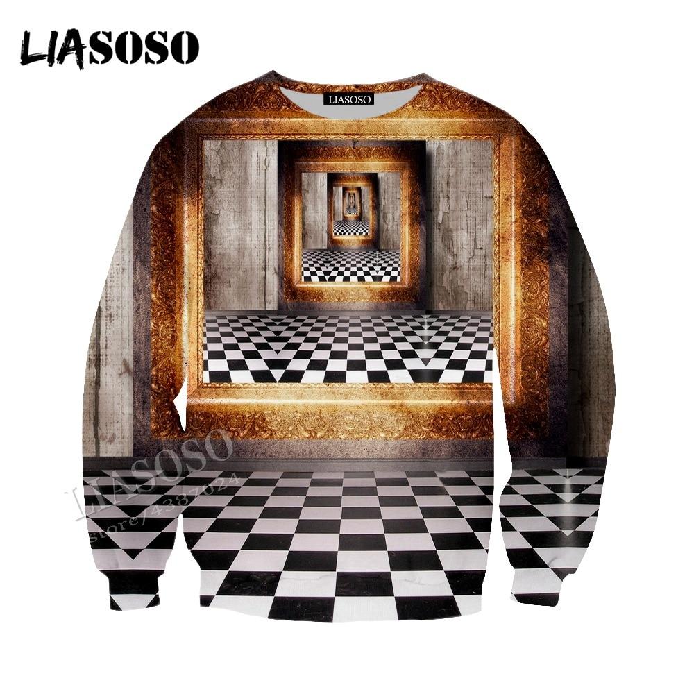 LIASOSO new neutral fashion sweatshirt window perspective 3D printing short sleeve / top / hooded shirt / zipper hoodie CX091