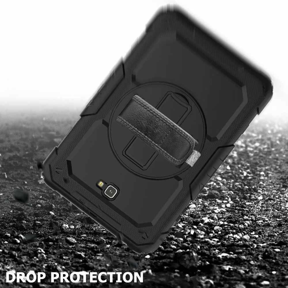 Shockproof Anak-anak Case untuk Samsung Galaxy Tab A 10.1 2016 T580 T585 SM-T580 SM-T585 Cover Kickstand Karet Silikon Armor Case