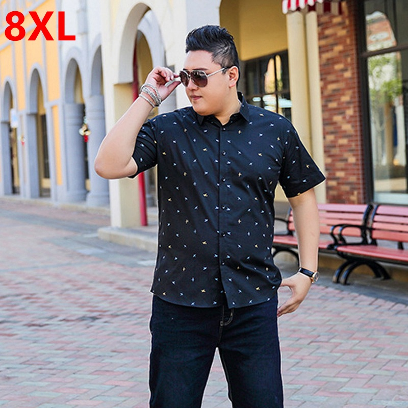 Summer new bigman oversized yards mens short-sleeved shirts wave point large shirt men plus size ...