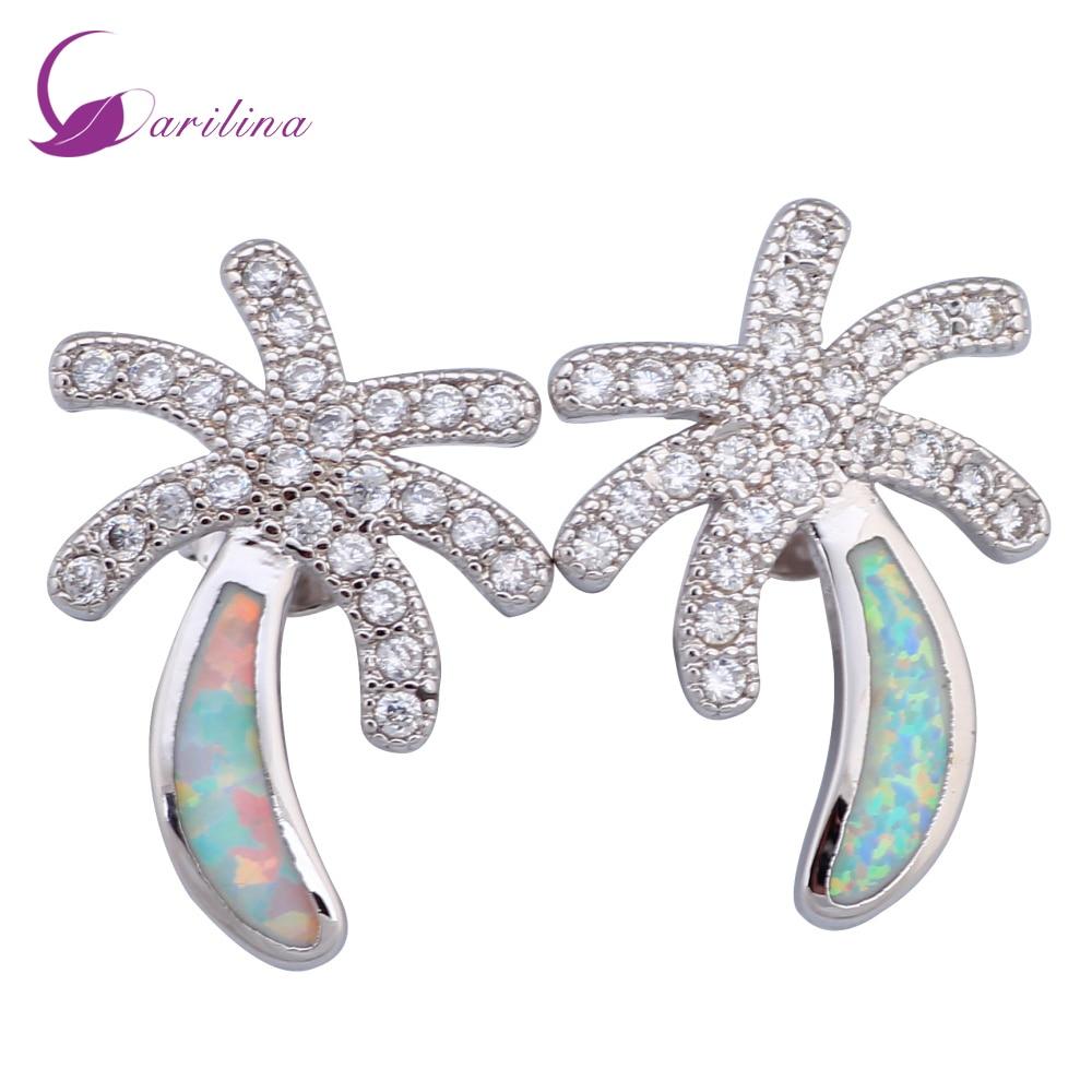 74058e479d5f Moda bijoux blanco OPAL CZ sello 925 superposición de mujeres Stud  pendientes moda joyería E357