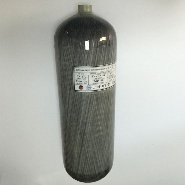 China product 9L gas cylinder high pressure 4500psi 30Mpa breathing machine carbon fiber SCUBA tank hunting pcp bottle on sale