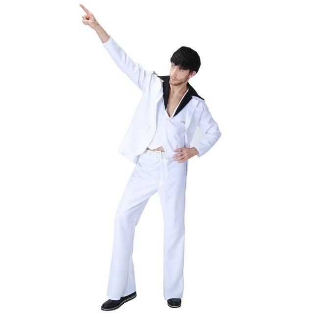 2b3f0fbd68be Uomo adulto 70 s Bianco Vestiti Dei Vestiti di Ballo Latino Costume  Divertente Hip Hop Carnevale