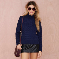 Solid Color New Winter Women Sweater Weave Turtleneck Designed Wild Casual Long Sleeved Women Loose Pullovers
