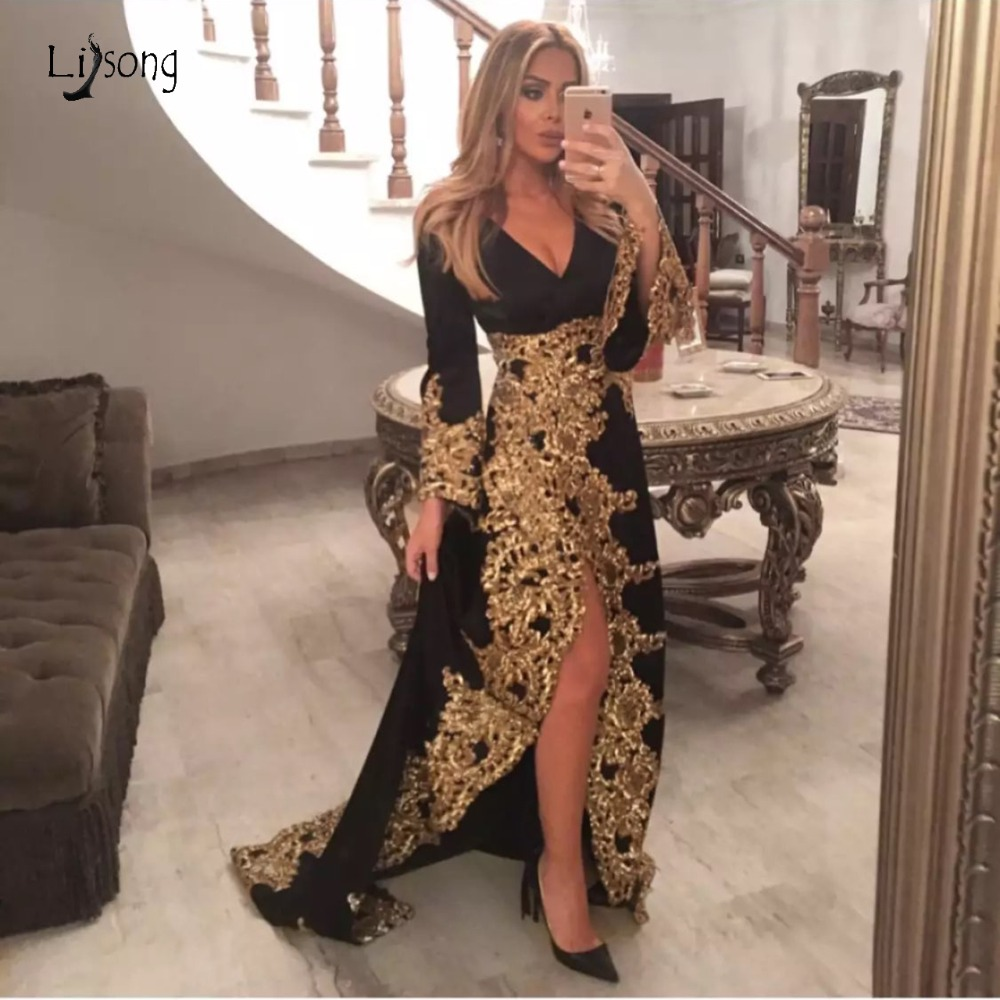 Saudi Arabic Black Velour Evening Dresses With Puff Full Sleeves Shiny Gold Lace Long Sexy Evening Gowns Split Robe De Soiree