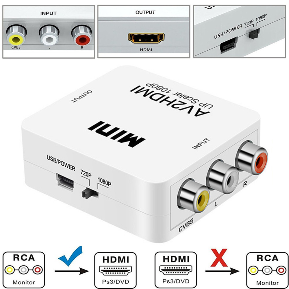 Mini 1080P Composite AV RCA to HDMI Video Converter Adapter Full HD 720/1080p UP Scaler AV2HDMI for HDTV Standard TV L3EFMini 1080P Composite AV RCA to HDMI Video Converter Adapter Full HD 720/1080p UP Scaler AV2HDMI for HDTV Standard TV L3EF