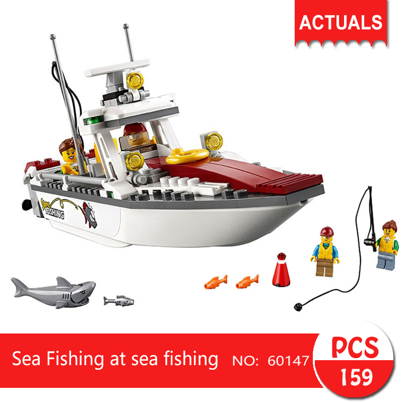 Lepin 60147 159Pcs City series Sea Fishing at sea fishing Model Building Blocks Bricks Toys For Children 02028 10646 160pcs city figures fishing boat model building kits blocks diy bricks toys for children gift compatible 60147