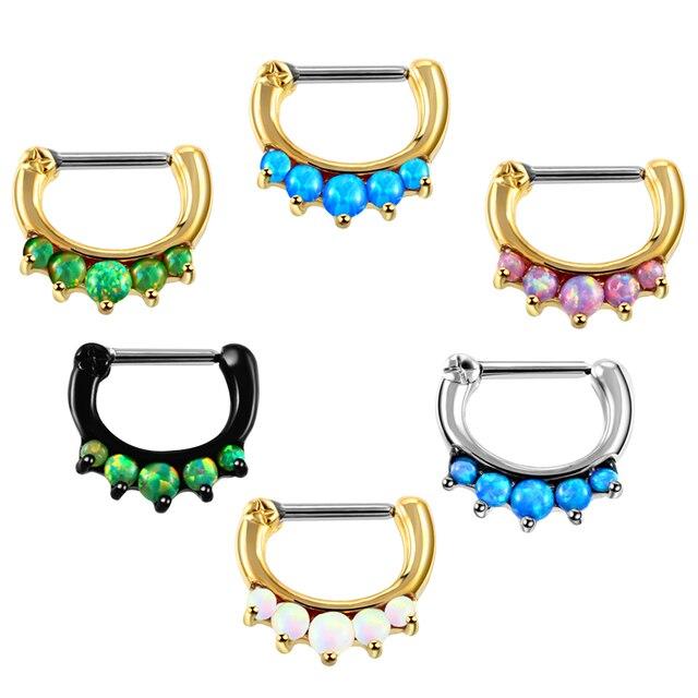 6 Farben Opal Piercing Kupfer Nase Ringe Stunds Edelstahl Welle Nase ...