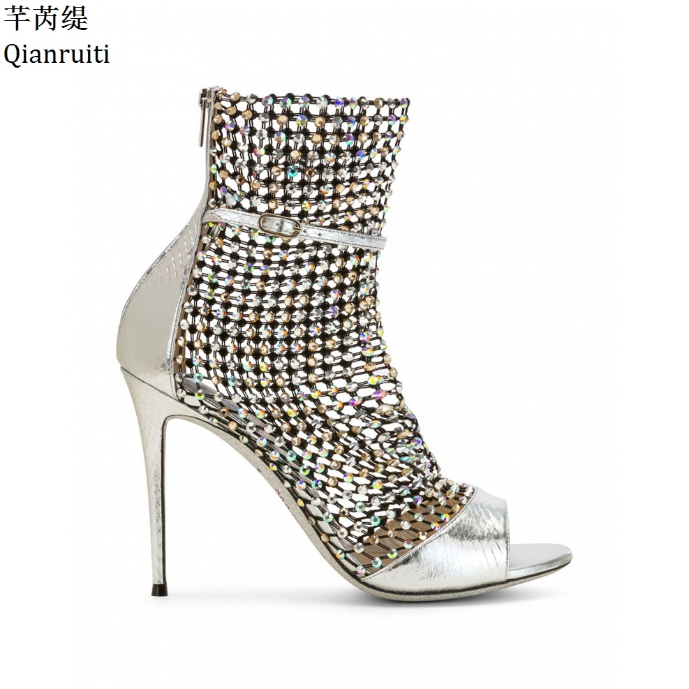 Qianruiti Cut-Outs High Heels Gladiator Sandals Buckle Strap Stiletto Heels Women Shoes Bling Bling Studded Crystal Women Pumps цена 2017