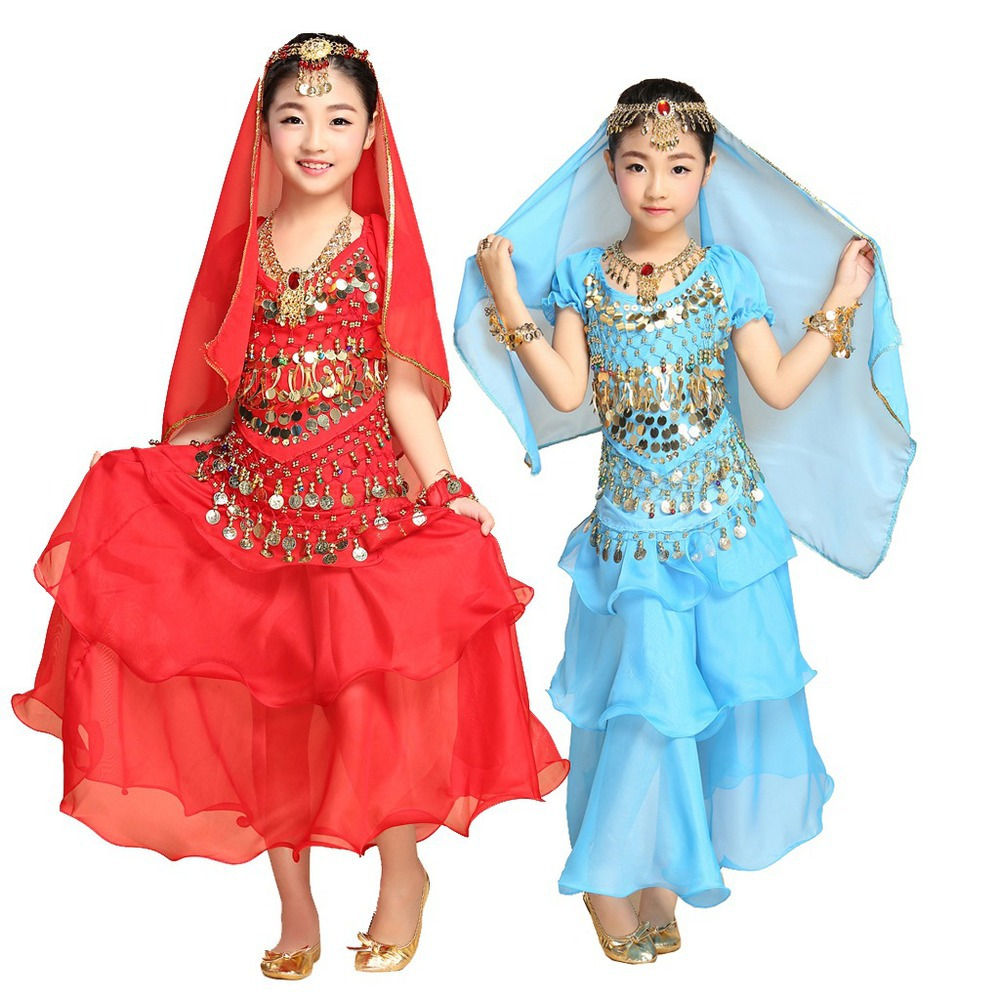 2015 Beautiful Kids Oriental Belly Dance Costume Set 5PCS TopFlamenco SkirtVeilHipScarfBracelet Bollywood Indian Child Dress