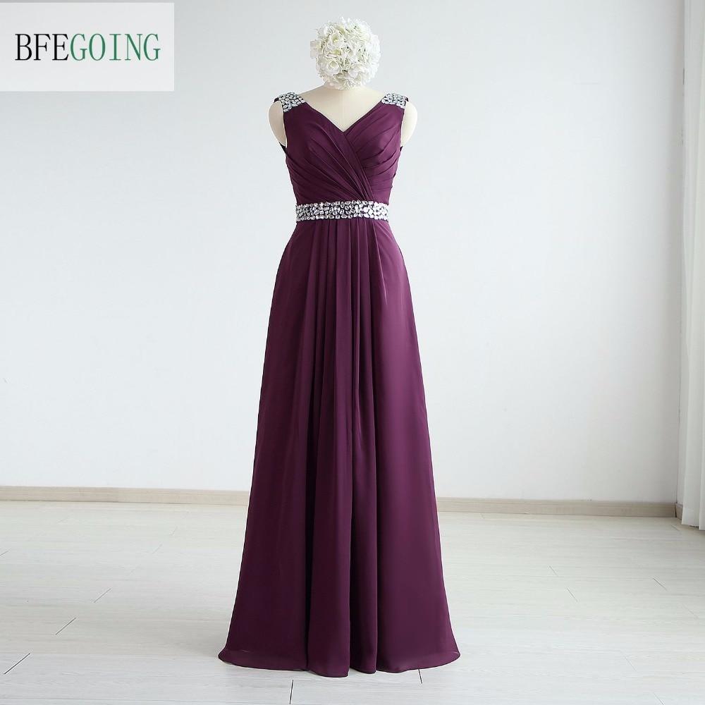 Grape Chiffon A-line Formal Evening Dress Floor-Length  V-Neck Crystal Belt Sleeveless  Real/Photos Photos Custom Made