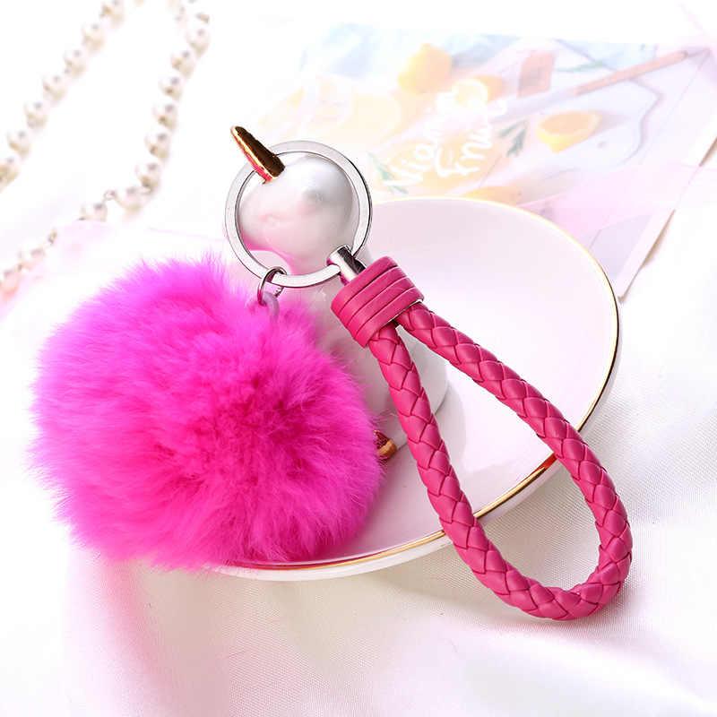 8 cm 13 Cores Adorável Fluffy Bola De Pêlo Chaveiro Pingente Bonito Pompom Artificial Chaveiro de Pele De Coelho Das Mulheres Da Forma Do Carro saco do Anel Chave