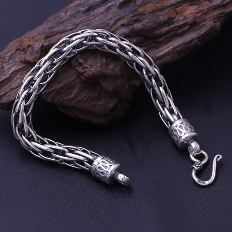 FNJ Link Chain Bracelet 925 Silver Fashion Lucky Width 9mm 20cm Original Pure S925 Thai Silver Bracelets for Women Men Jewelry
