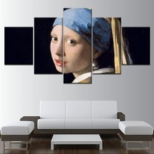 Johannes Vermeer Picture Girl With a Pearl Earring Painting 5 Piece Style Canvas Print Type Decor Wall Artwork Poster