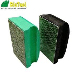 SHDIATOOL 2 pcs (Grit #50 + #100) galwaniczne diamentowe ręczne polerowanie Pad 90X55 MM pianka wspierane bloku kamienia do marmuru płytka granitowa