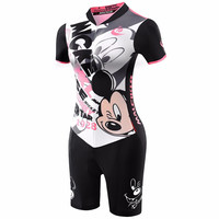 2018 High Quality Women Pink Mickey Mouse Jumpsuit Ropa Ciclismo Maillot Cycling Jersey Mtb Clothes Triathlon Sport Skinsuit