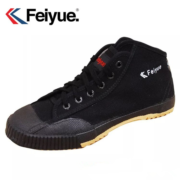 Feiyue Men Women Shoes Original Basic Classics Knight Shoes  Black Canvas Rubber Lace-Up Shoes Sneakers