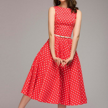 S-4XL Women Retro Polka Dot Print Swing Dress Femme Summer Sleeveless Dresses Elegant Sundress Plus Size Casual Party Vestidos