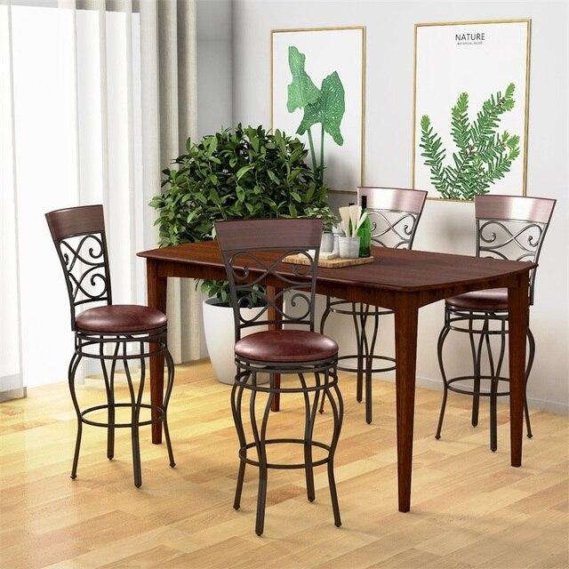 Hohe qualität Set von 2 Swivel Gepolsterte Barhocker moderne metall Ergonomische rückenlehne esszimmer stühle 360 grad swivel sitz HW54103-in Esszimmerstühle aus Möbel bei