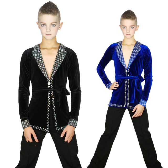Latin Dance Shirts Boys Long Sleeve Velvet Rhinestone Samba Tango Professional Competition Performance Tops Kid Wear DNV10246