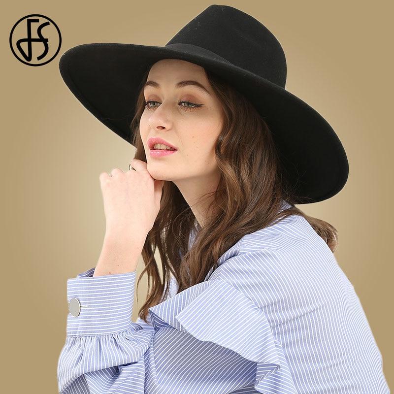 FS Elegant Big Black Hat Large Brim Fedoras Wool Felt Hat Women Bow Panama Cap Australian Ladies Trilby Hat Autumn Casual Mujere